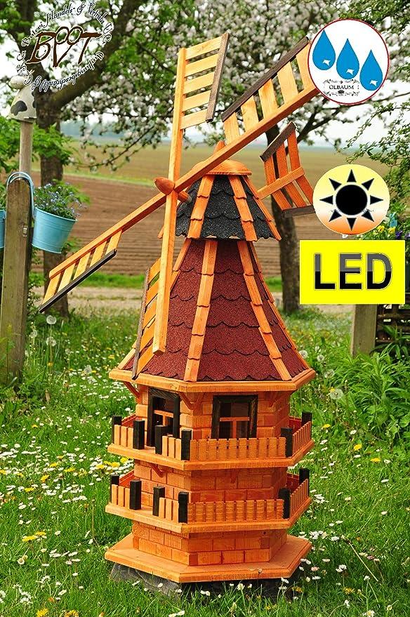 Gran Molino De Viento, Jardín Molino de viento 140 cm, madera einstöckig WMB de ru140 de