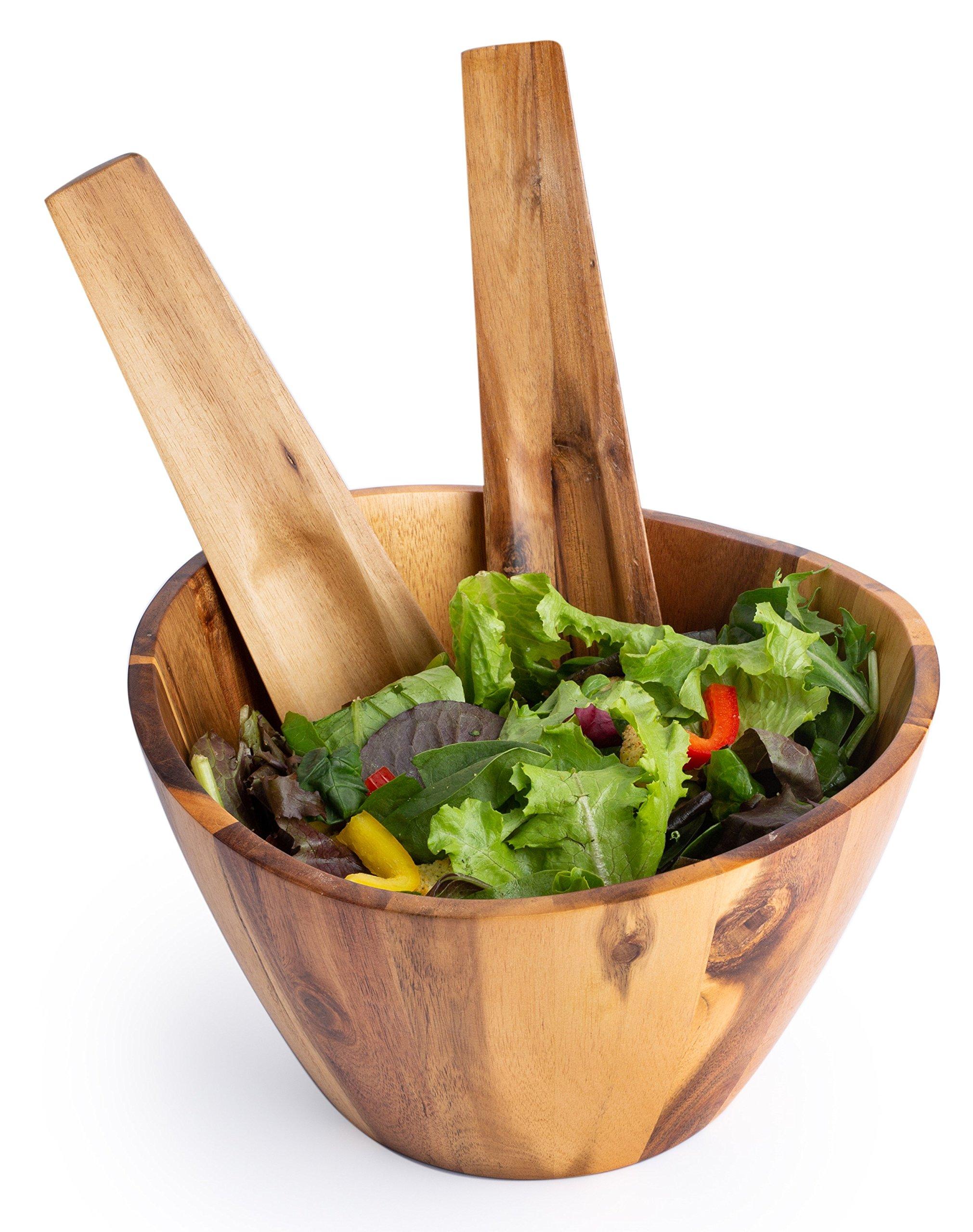 Acacia Wood Salad Bowl 3 Piece Set. 10 x 6 Salad Bowl with 2 Utensils.