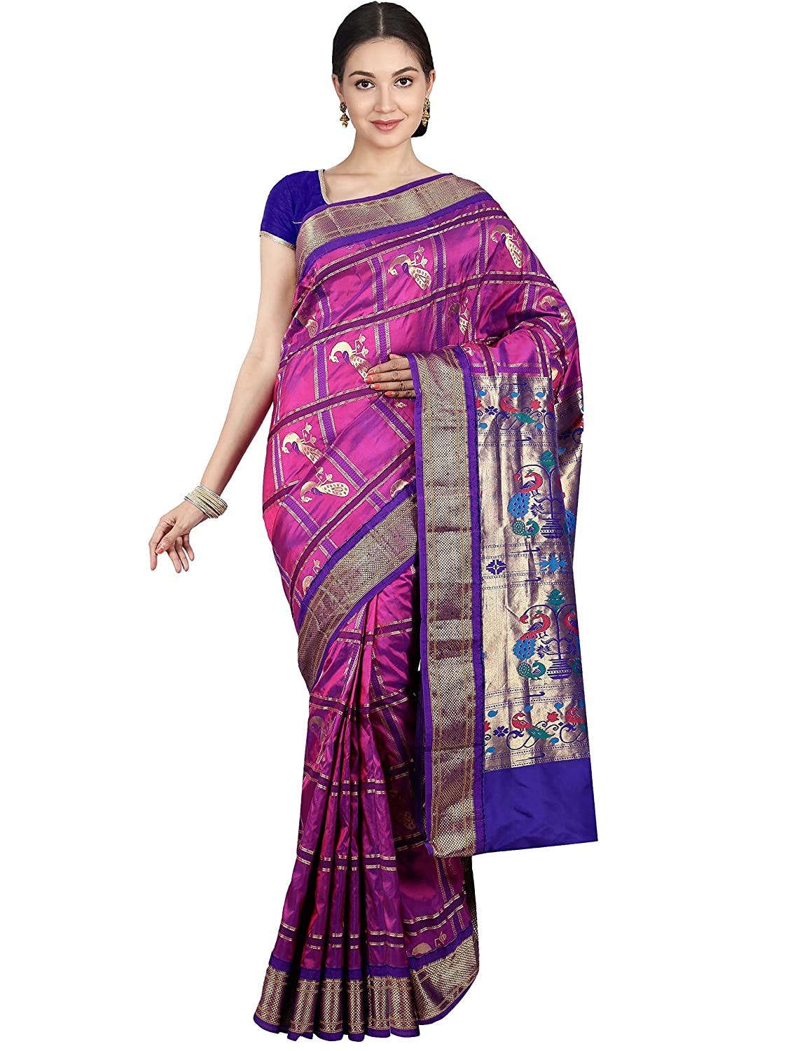 Indian Silks Paithani Handloom Pure Silk Saree