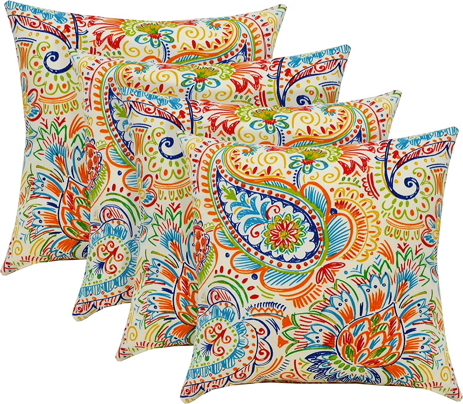 RSH D cor Indoor Outdoor Set of 17 Square Throw Toss Pillows Gilford Bright Primary Color Thin Line Floral Paisley – Choose Quantity 4