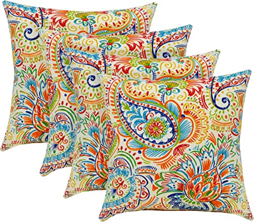 RSH D cor Indoor Outdoor Set of 17 x 17 inch Square Throw Toss Pillows Gilford Bright Primary Color Thin Line Floral Paisley – Choose Quantity 4