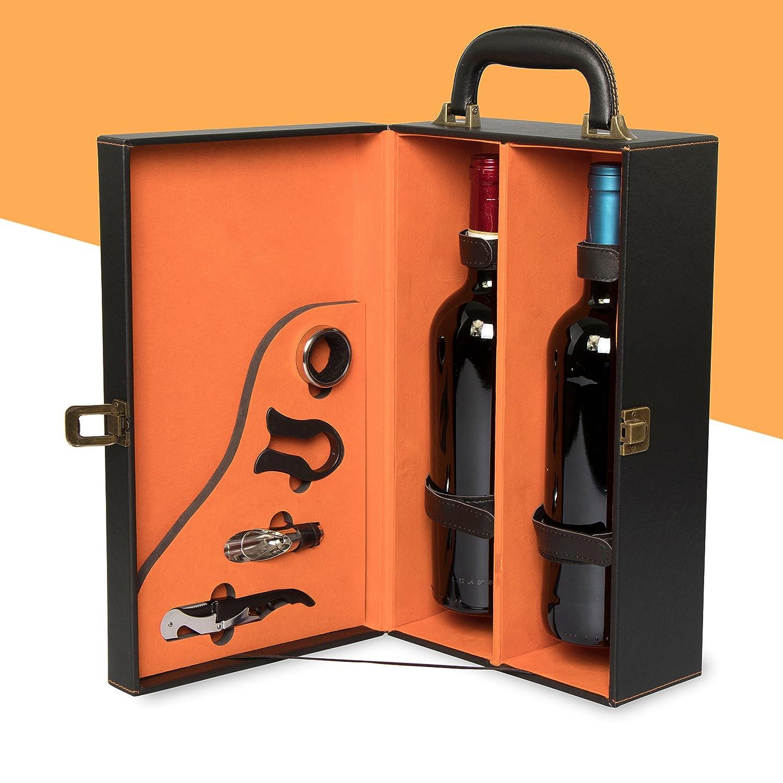 /Set di accessori con Decanter entkorker salvagoccie tagliacapsule Mack set con scatola per 2/bottiglie di vino/ /Nero/