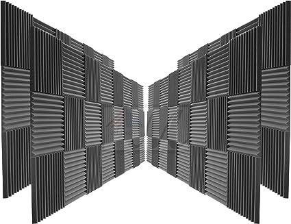 Amazon Com 96 Pack Acoustic Panels Studio Foam Wedges 2 X 12 X 12 Color Charcoal Musical Instruments