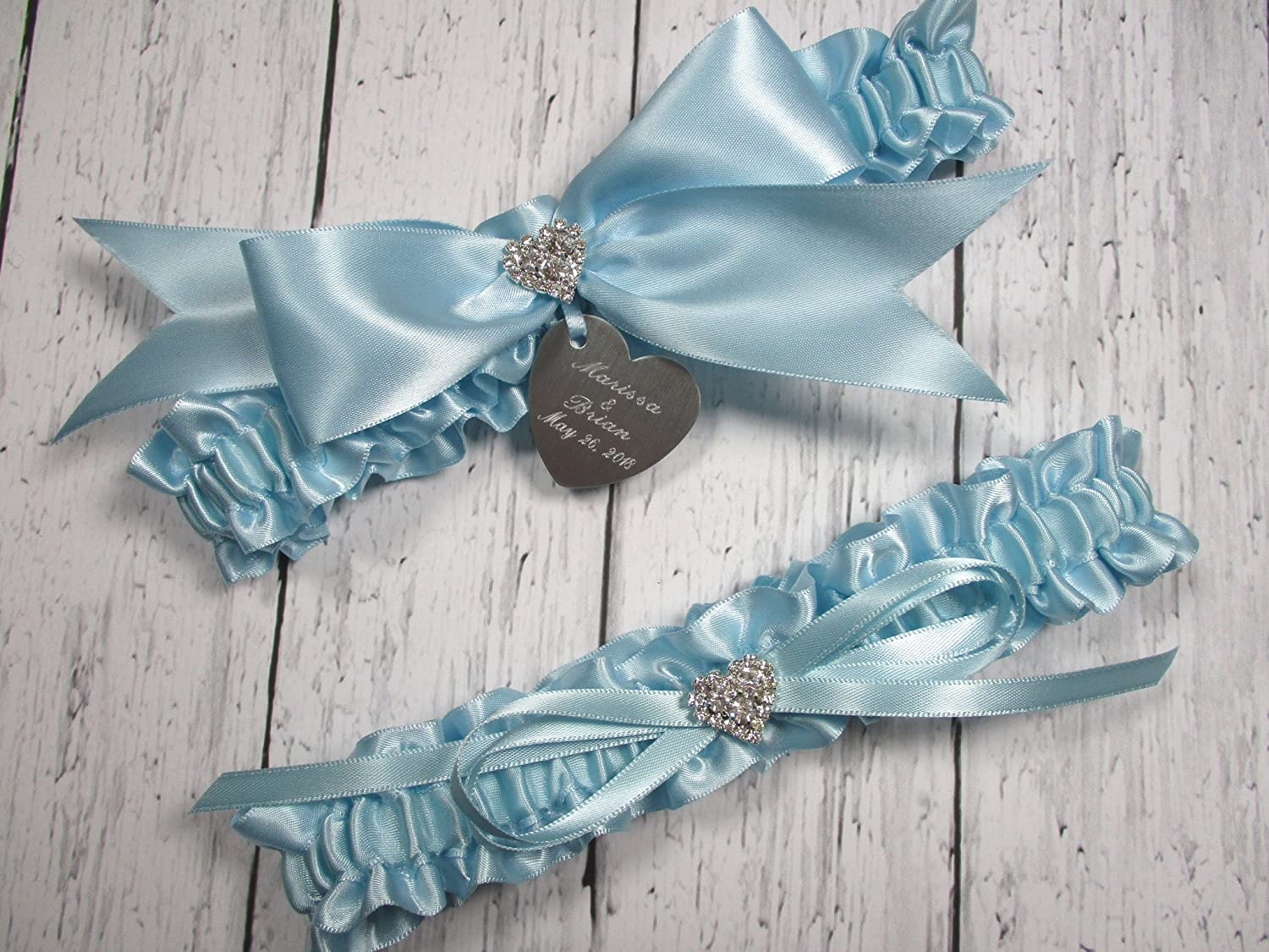 Blush Wedding Garter in Satin with a Brilliant Rhinestone Heart and Personalized Engraving