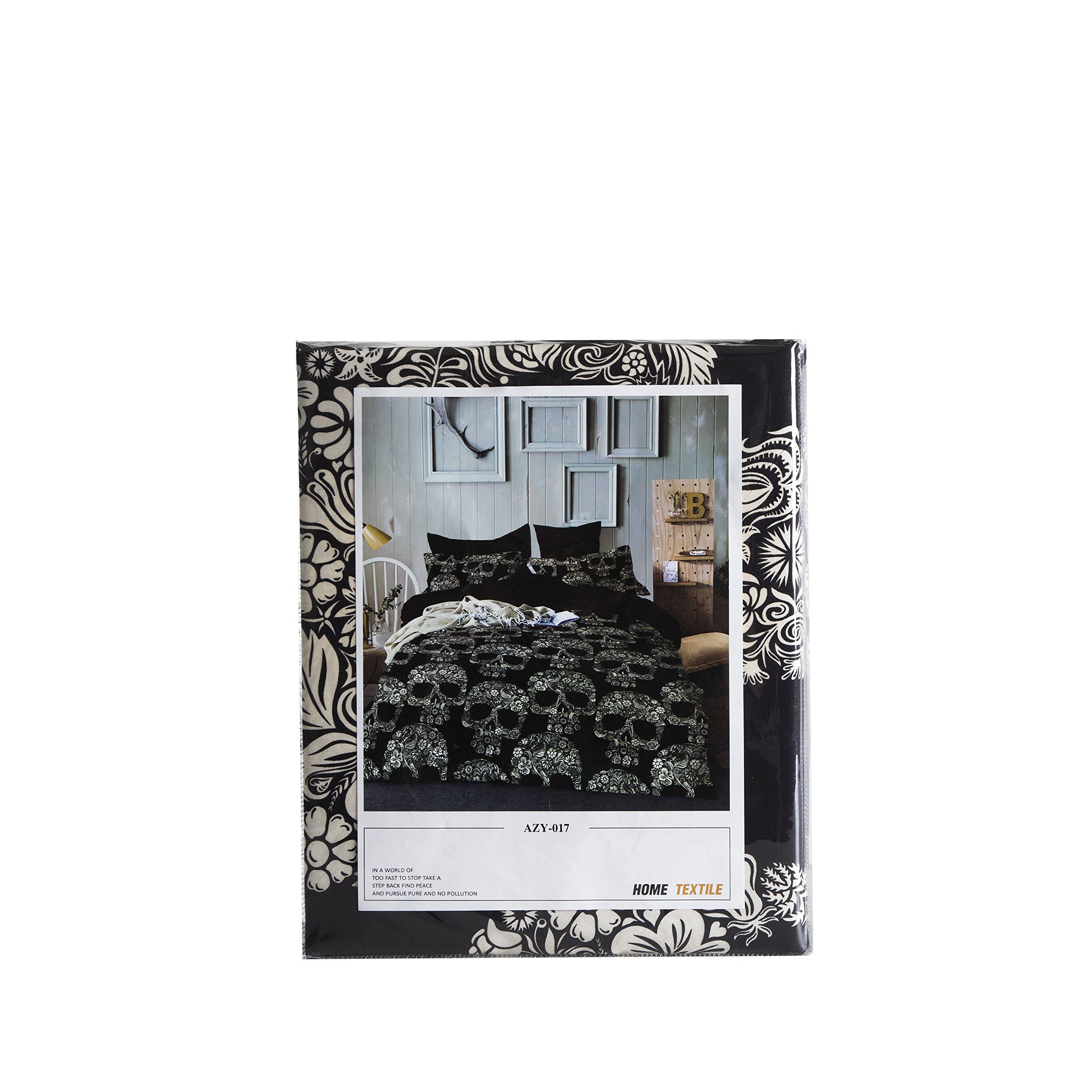 SDIII 2PC Black and White Skull Bedding Microfiber Twin Skeleton Duvet Cover SetFor Boys and Girls