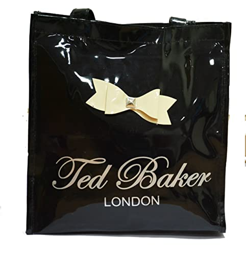 2d531d0779f9eb NAVIZONE Ted Baker Women s Canvas Black Glossy Tote Bag  Amazon.in  Shoes    Handbags
