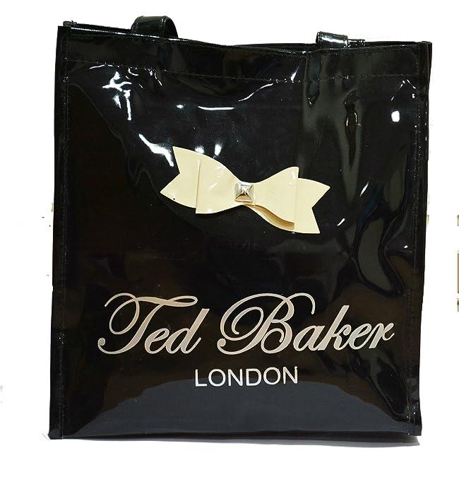 0b83ec7f2 NAVIZONE Ted Baker Women s Canvas Black Glossy Tote Bag  Amazon.in  Shoes    Handbags