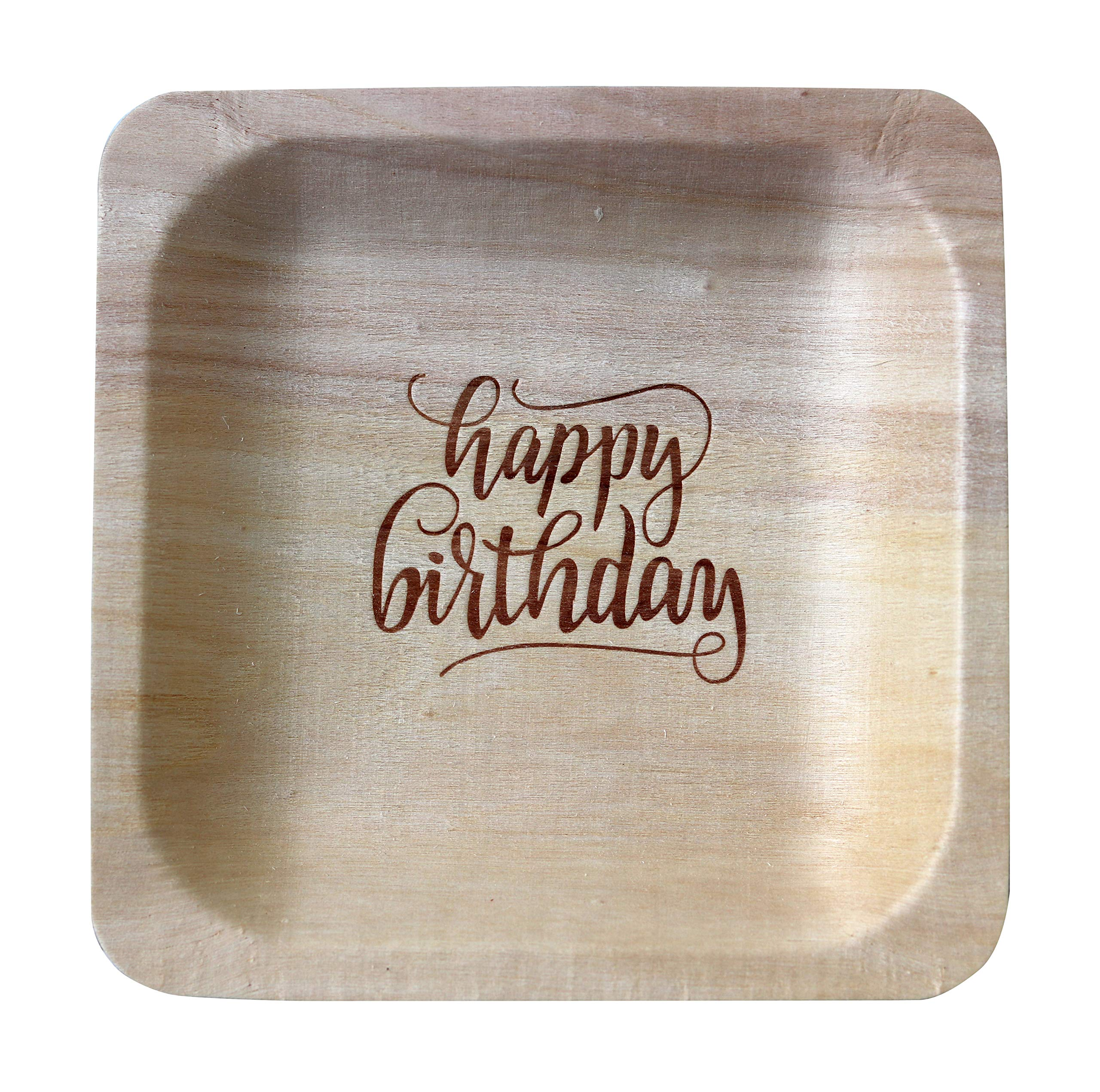 ''Happy Birthday'' StatementWare Disposable Birthday Plates (50-pack)—100% Natural and Eco-Friendly, Elegant Alternative to Happy Birthday Plates, Plastic Party Plates, and Cake Plates (5.5'' x 5.5'')
