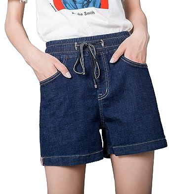 185f1d95d7 Women's High Rise Straigh-Leg Stretchy Denim Shorts Elastic Waist Jeans  Bermuda Shorts Plus Size at Amazon Women's Clothing store:
