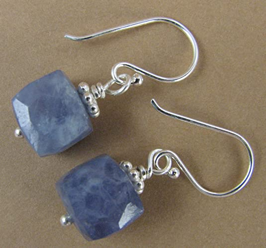 Light Blue Gemstones. Sterling Silver 925. Square/cube. Handmade
