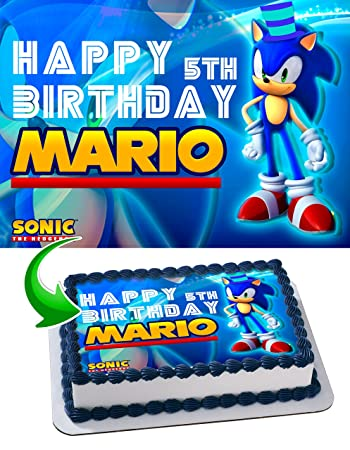 Sonic The Hedgehog Birthday Cake Personalized Toppers Edible Frosting Photo Icing Sugar