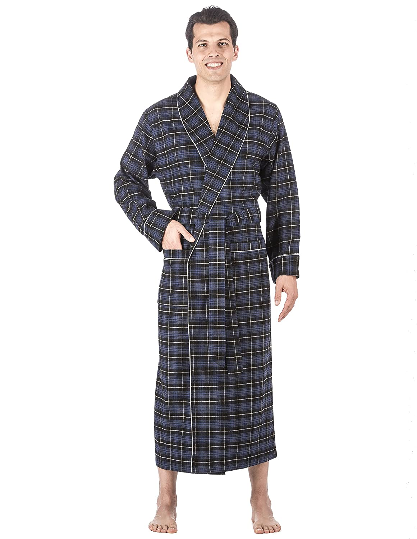 542b92a40e Noble Mount Mens Premium 100% Cotton Flannel Long Robe at Amazon Men s  Clothing store