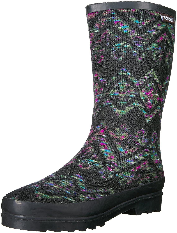 MUK LUKS Women's Black Tall Annabelle Geo Space Rainboot Rain Boot