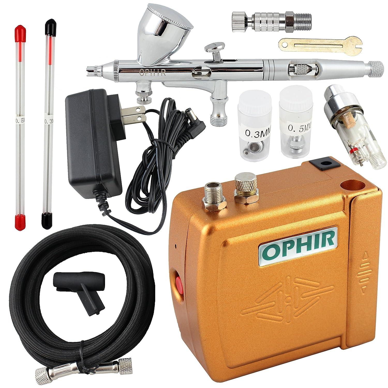 Ophir 3 consejos doble acción aerógrafo Kit 12 V Golden Mini aerógrafo compresor modelo Hobby manualidades para tartas: Amazon.es: Hogar