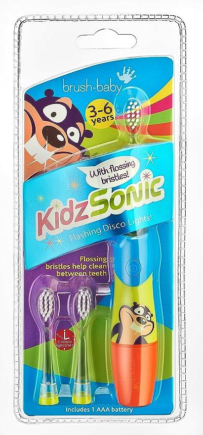Brush Baby Blue Kidz Sonic - Cepillo de dientes eléctrico para niños, color azul