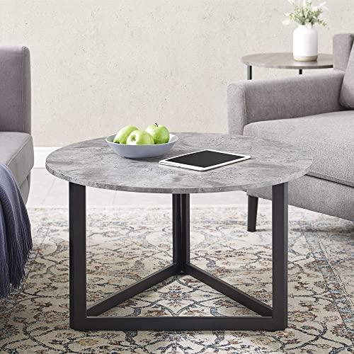 Walker Edison Furniture Company Modern Round Metal Base Coffee Table Living Room Accent Ottoman, 32 Inch, Dark Grey Concrete