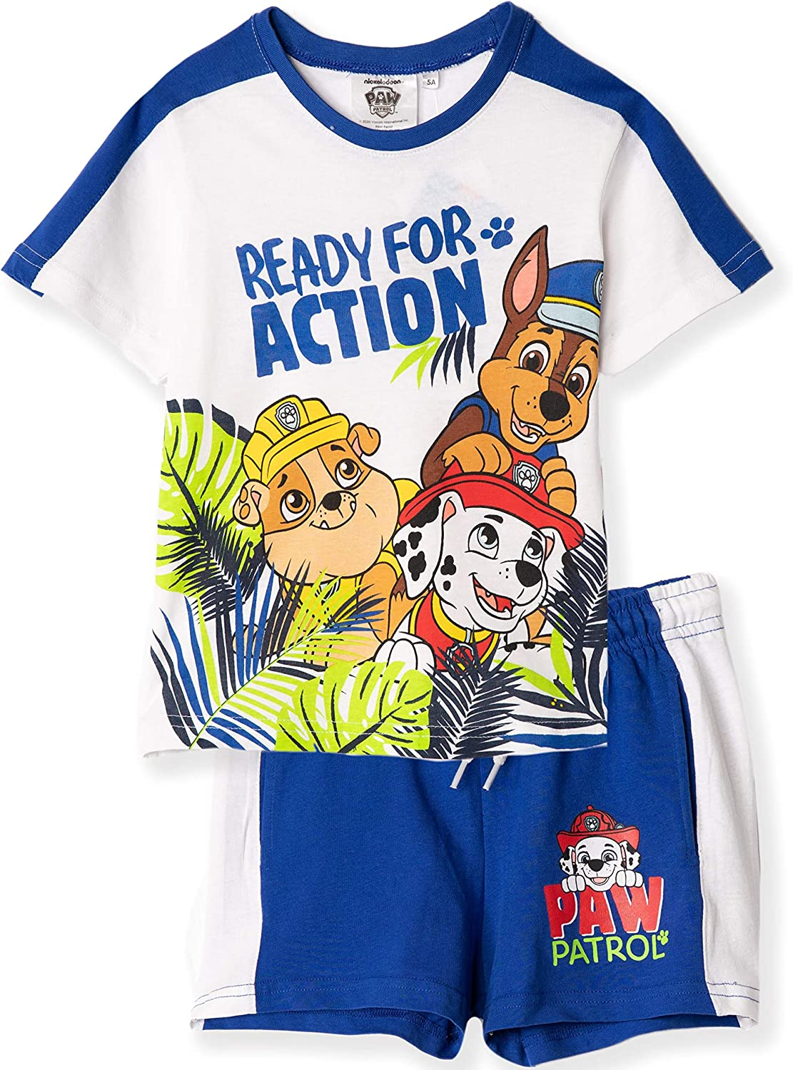 Nickelodeon Paw Patrol Official Boys Summer Outfit Set Short Sleeve Top T-Shirt and Shorts 100/% Cotton 2-6 Years Holiday Theme