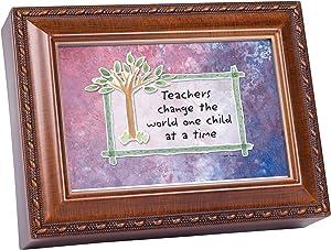Cottage Garden Teachers Change World Woodgrain Rope Trim Jewelry Music Box Plays Wonderful World