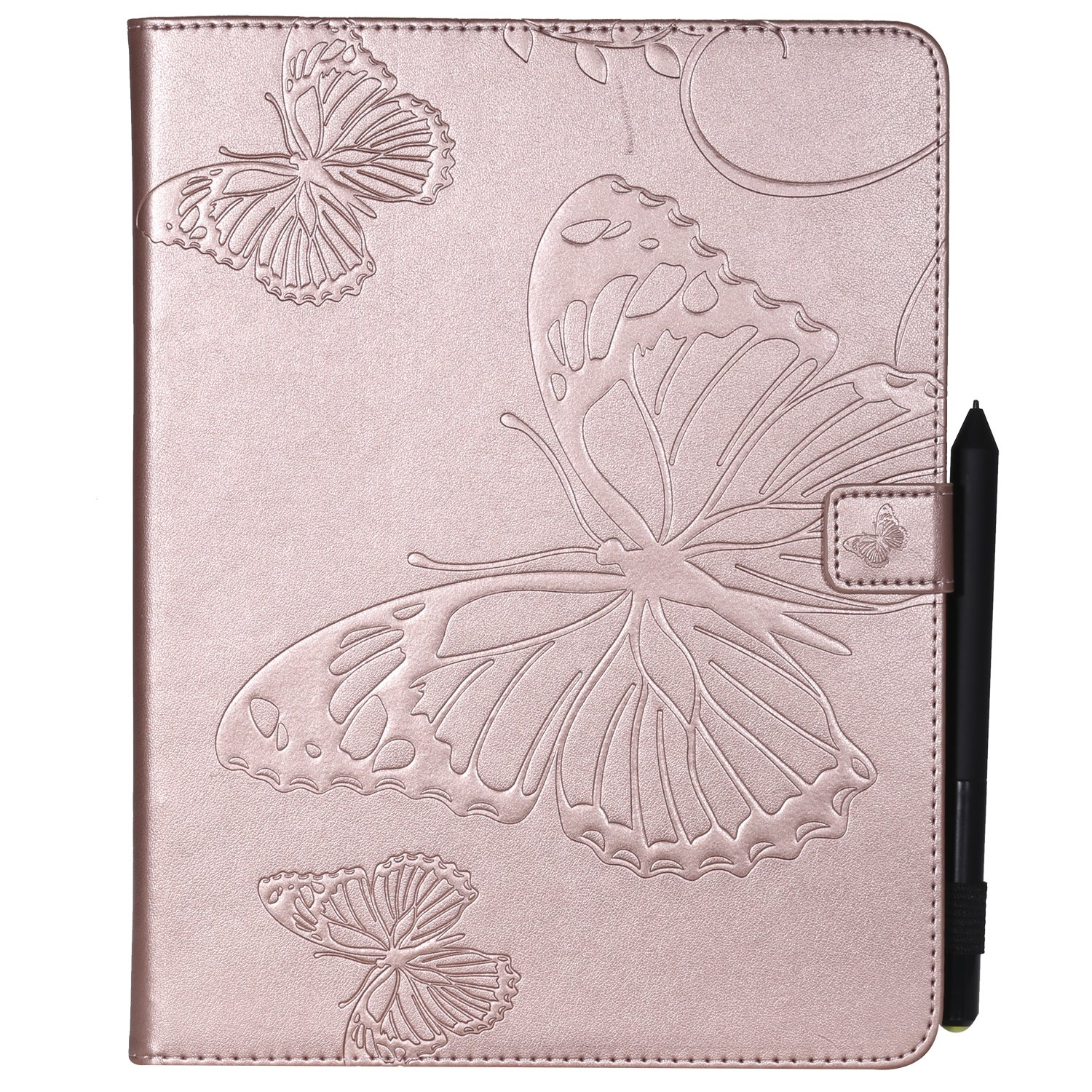 Shinyzone Tablet Leather Case for iPad 2 3 4,Embossed Rose Gold Butterfly Pattern with Credit Card Slots and Pencil Holder,Auto Sleep and Wake Function Magnetic Flip Stand Cover