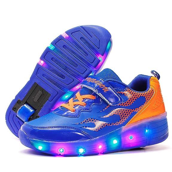 ❤❤❤Ruedas Ajustables LED Zapatillas con Luces Ruedas Color Deporte Zapatos de Skate Roller Deportivos Zapatos Trainers Monopatín Sneaker para Niños ...
