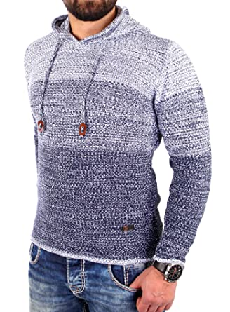 89038d98489a Reslad Strickpullover Herren Colorblock Kapuzen-Pullover Hoodie RS-3108  Indigoblau S