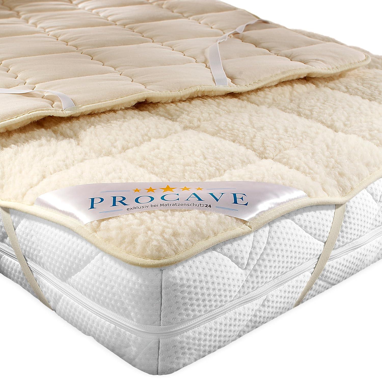 PROCAVE weiches Unterbett mit Lammflor und Schurwolle, hochwertige Matratzen-Topper, Matratzen-Schoner mit 4 Eckgummis, Matratzen-Auflage 120x200 cm