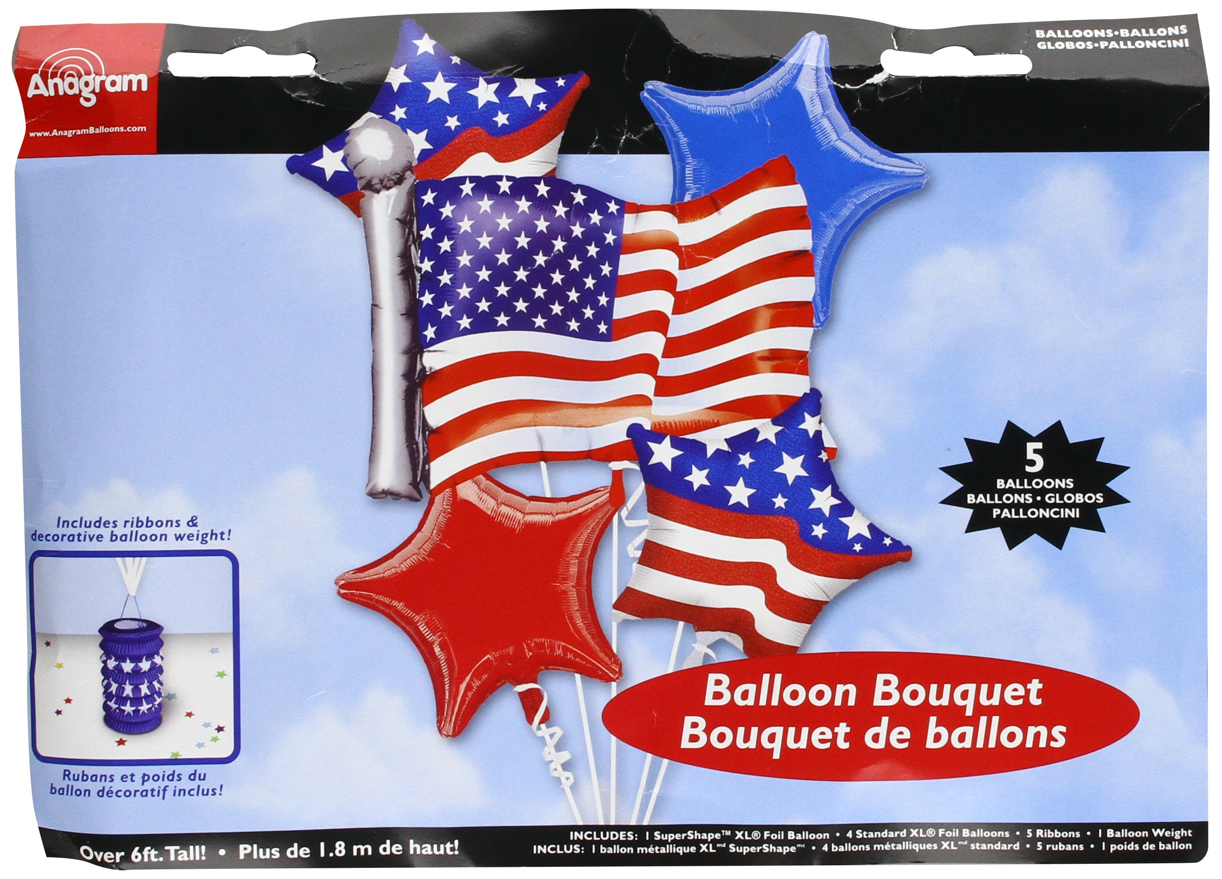 Anagram International 51879 Bouquet Patriotic Party Balloon, Red/White/Blue