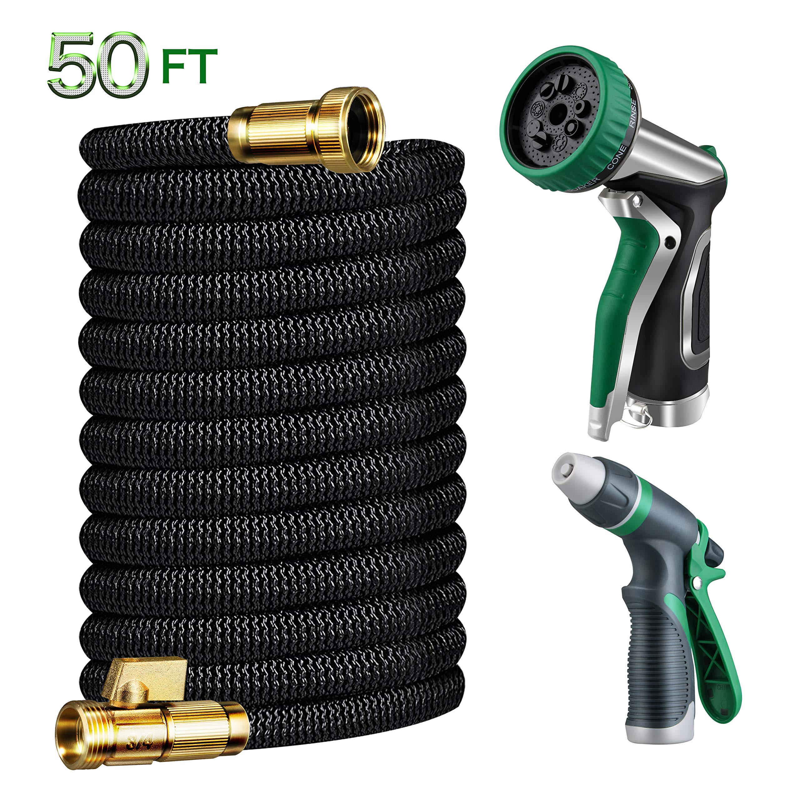 Gamegie Expandable Garden Hose 50 ft,Water Hose Metal Hose Nozzle Spray & Car Washing Nozzle,2018 Upgrade Extra Strength Duct Hose