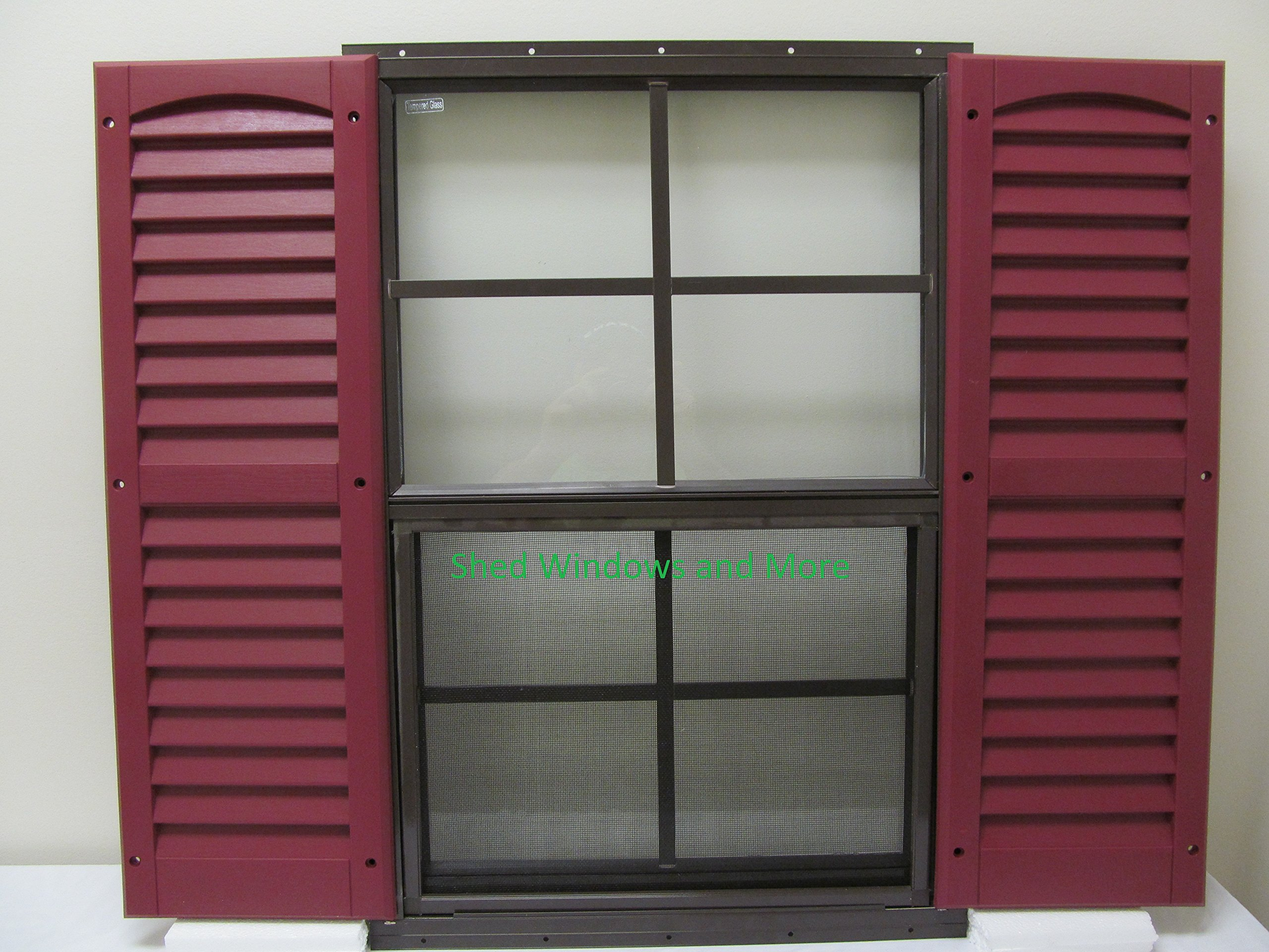 Shed Window + Shutters (Pair Green Shutters) 18'' X 27'' Brown Flush Mount, Storage Shed, Playhouse by Shed Windows and More