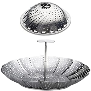 "100% Stainless Steel Vegetable Steamer Basket/Insert for Pots, Pans, Crock Pots & more. 6.4"" to 10.4"" - Bonus Screw in Extension Handle included. By Sunsella"