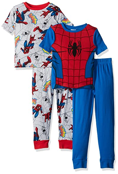 Marvel Boys Big Boys Spiderman 4-Piece Cotton Pajama Set, Blue/