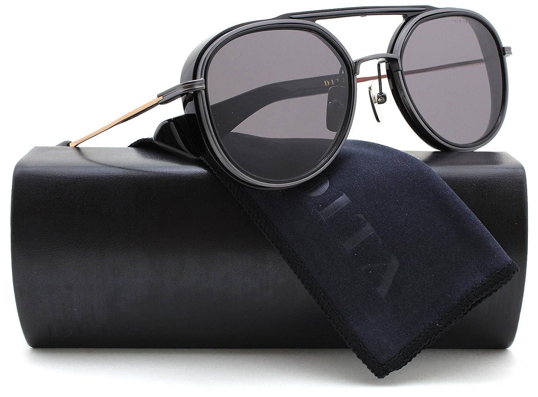 fae9e48db4d DITA 19017-B Spacecraft Aviator Sunglasses Shiny Black w Gold  (19017-B-BLK-RGD-52) 52mm Authentic at Amazon Men s Clothing store