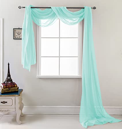 RT Designers Collection Celine Sheer 55 X 216 In Curtain Scarf Aqua