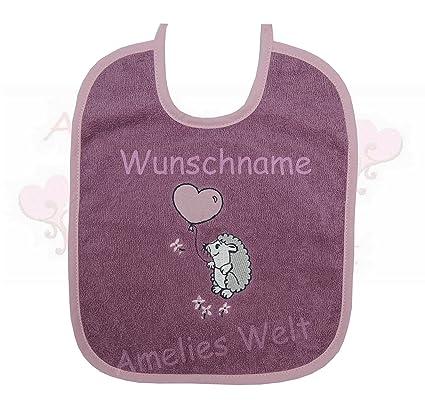 amelieswelt Babero Con bordados de erizo. bordada con nombres baberos de bautizo nacimiento spucktuch sabbertuch
