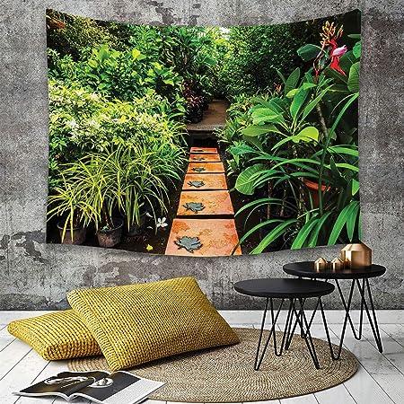 Tapestry,Hippie Tapiz,tapiz de pared con decoración para el hogar,Jardín zen, exuberante jardín con plantas tropicales y sendero de madera,para picnic Mantel o Toalla de Playa redonda 150 x 200 cm: Amazon.es: Hogar
