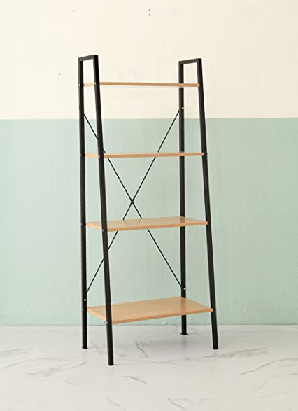 Amazon.com: 4-tier Sonoma Oak Finish Black Metal Frame Ladder Style ...
