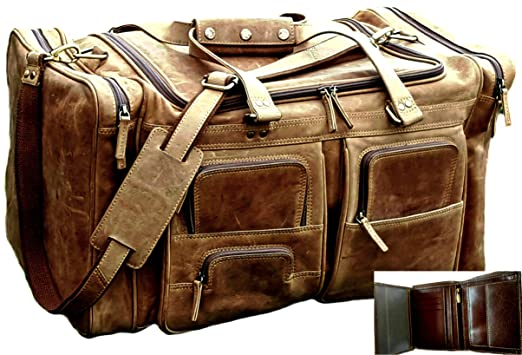 Amazon.com | 24 Inch Vintage Leather Travel Bag Gym Sports ...