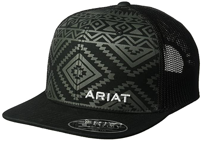 02afd9f9 ARIAT Men's Aztec Black Flat Bill Cap, One Size at Amazon Men's ...