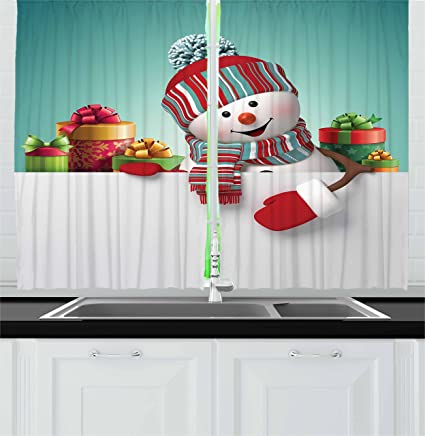 ambesonne christmas kitchen curtains three dimensional snowman design with scarf and hat ornate boxes illustration - Christmas Kitchen Curtains
