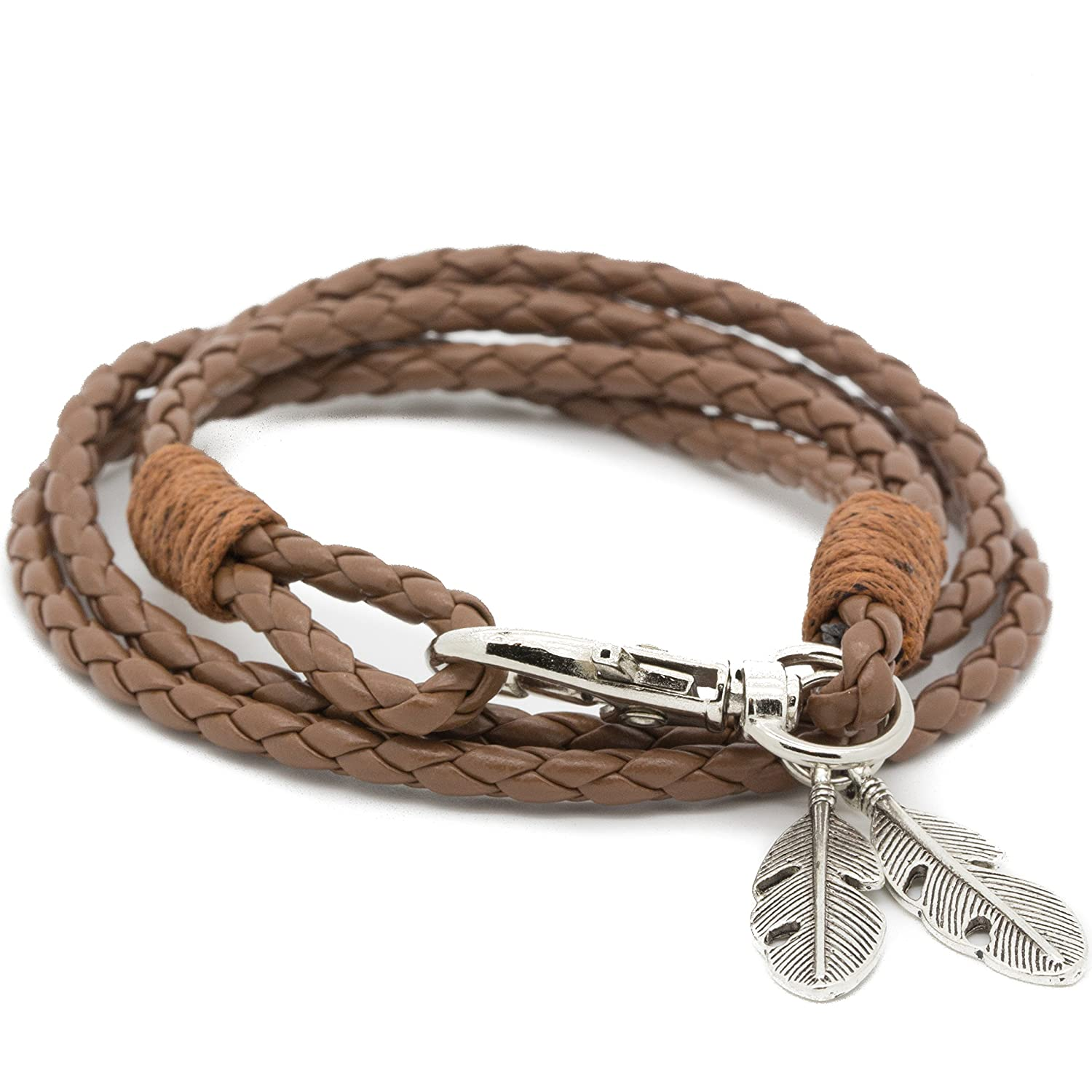 Vikings Armband geflochten tribal Twisted Envy Seil mit Federn Anhänger MESE London BrownBradedBracelet1