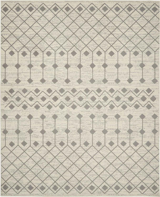 Nourison Grafix Bohemian Contemporary Ivory/Grey Area Rug (8' x 10'), 7'10