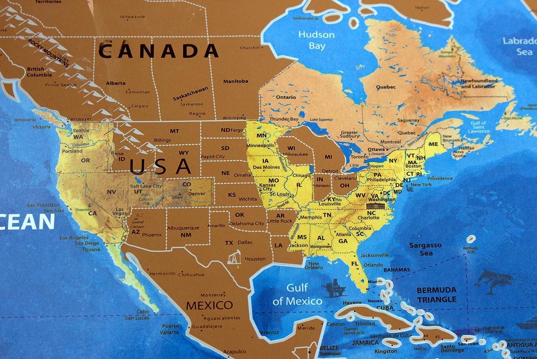 Tolle Karten Rubbeln Weltkarte mit Länderflaggen, US Bundesstaaten ...