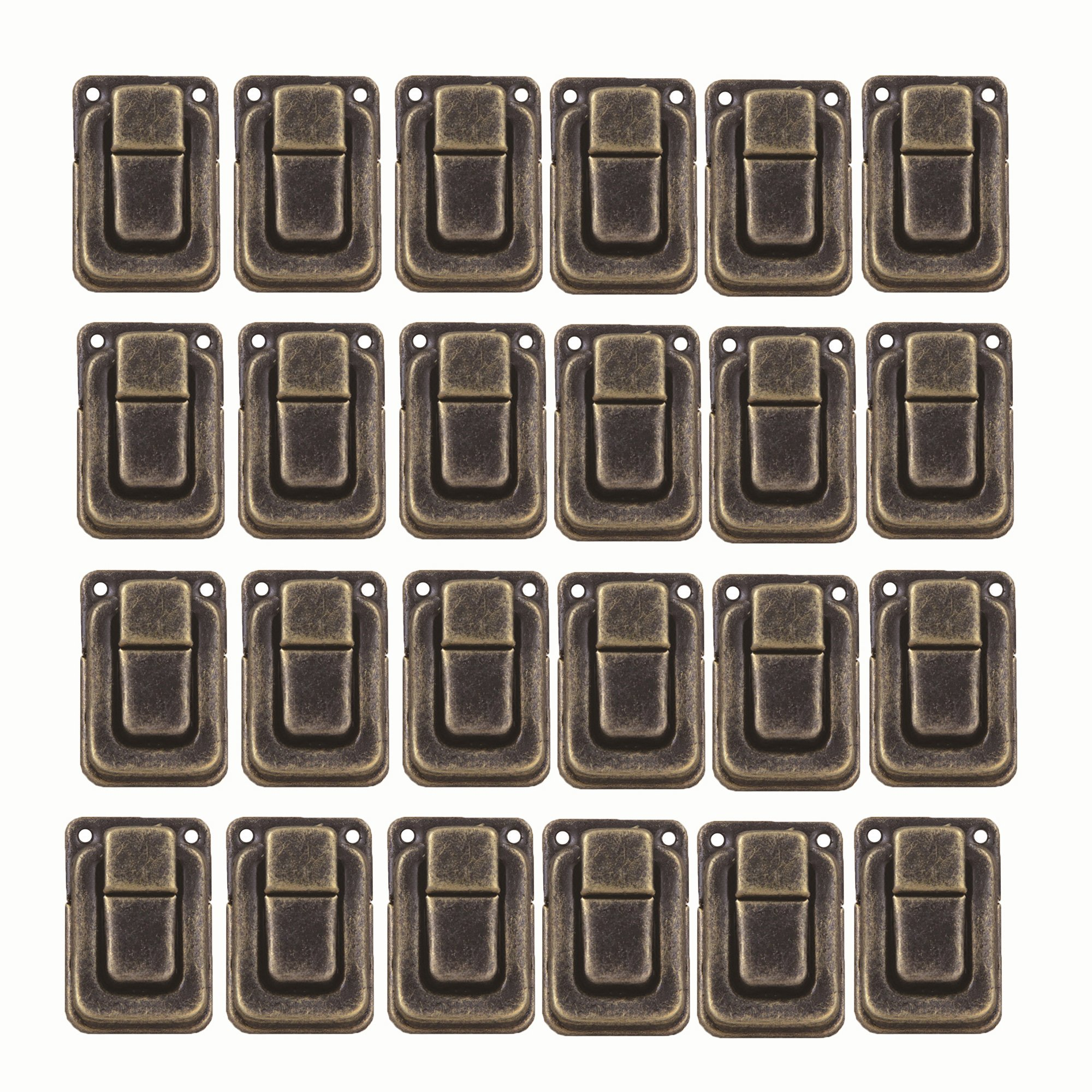 Antrader 24pcs Clasp Latch Lock Mini Hasp for Toolbox Gift Box Suitcase 1.5'' x 1'' x 0.35'' with Screws (Bronze Tone)