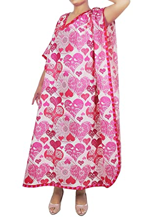 a344e57077 Indian Dress Free Size Tunic Casual Evening Wear Comfortable Airy Cotton  Printed kaftan For Women  Amazon.in  Clothing   Accessories