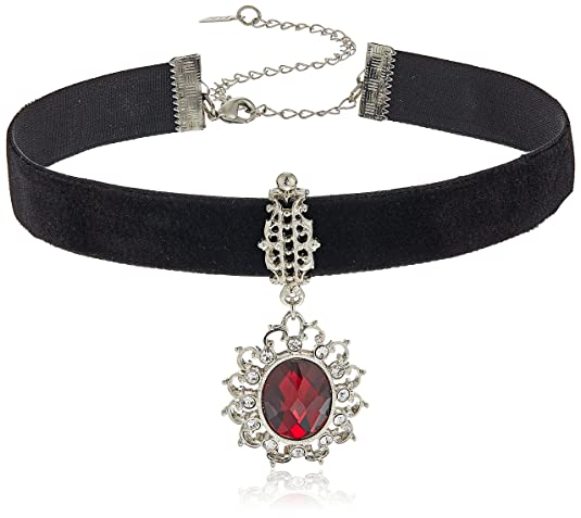 Vintage Style Jewelry, Retro Jewelry 1928 Jewelry Black Velvet with Casted Red Stone and Crystal Pendant Choker Necklace $33.92 AT vintagedancer.com