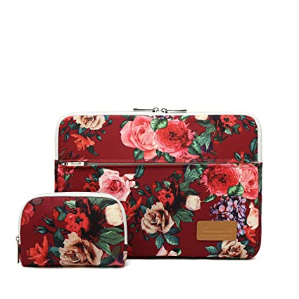 c8d2dd05a008 Canvaslife Burgundy red Roses Pattern 360 Degree Protective 13 inch Canvas  Laptop Sleeve with Pocket 13 Inch 13.3 Inch Laptop Case