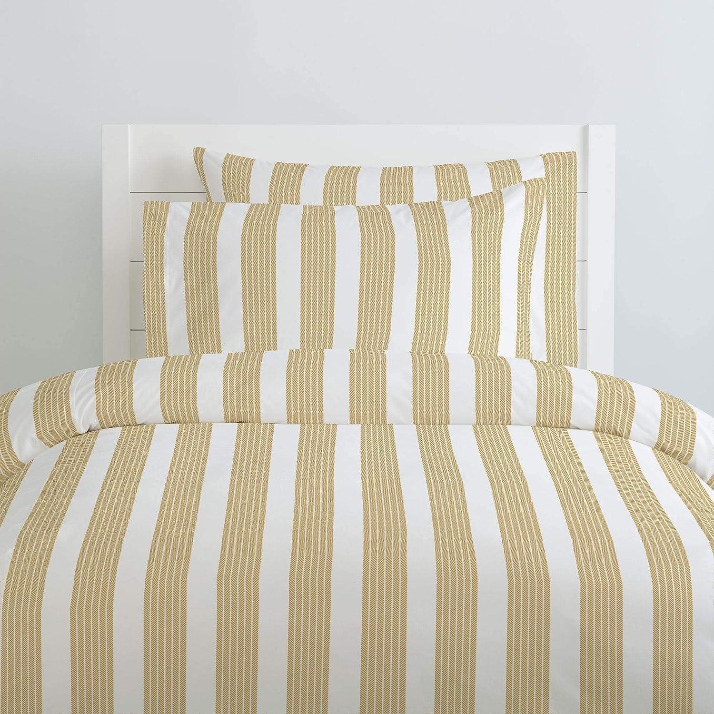 Organic 100/% Cotton Duvet Cover Carousel Designs Ivory Seaside Stripe Duvet Cover Queen//Full Size Made in The USA