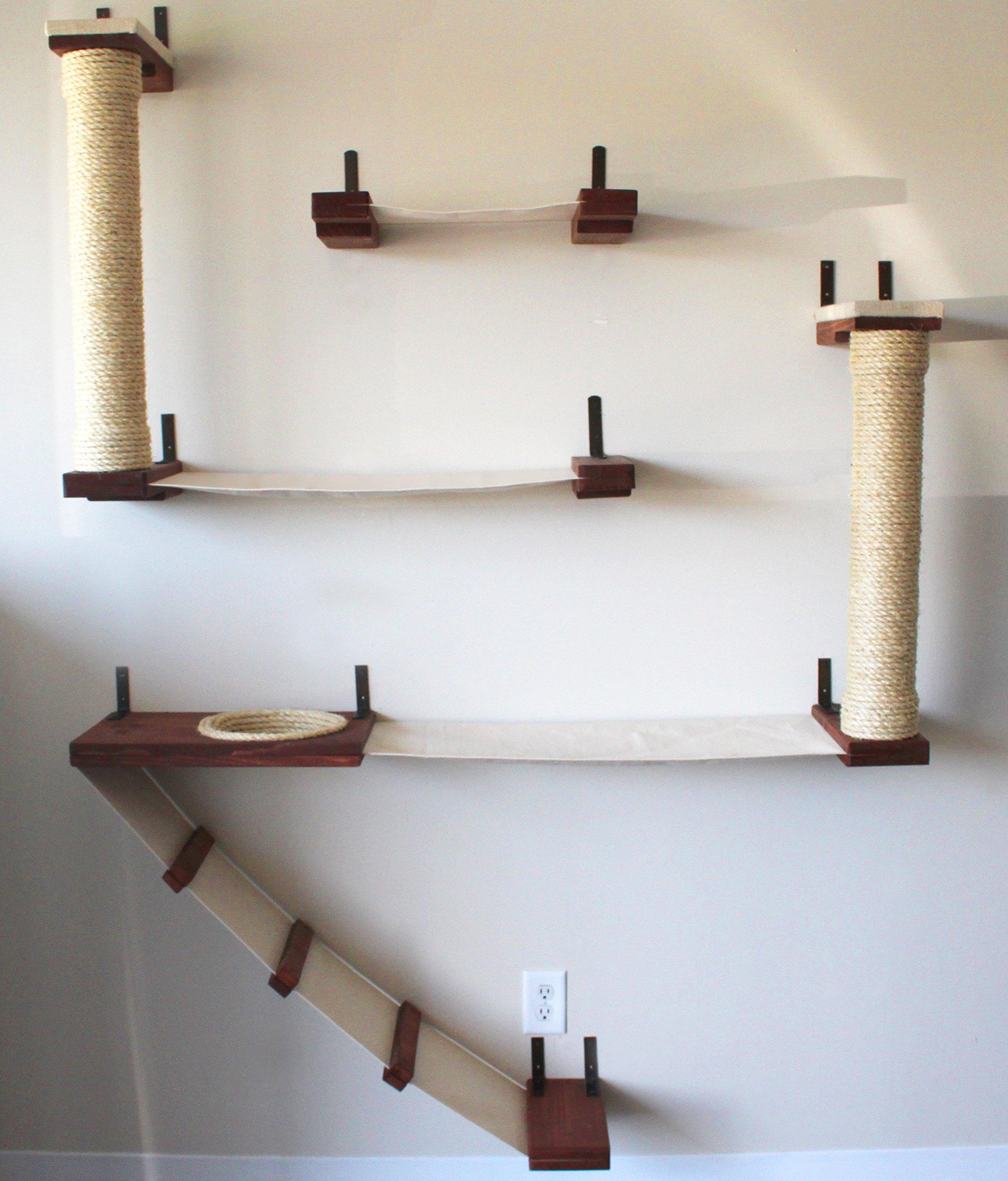 CatastrophiCreations The Roman Cat Fort Hammock Climbing Activity Wall-Mounted Cat Tree, English Chestnut