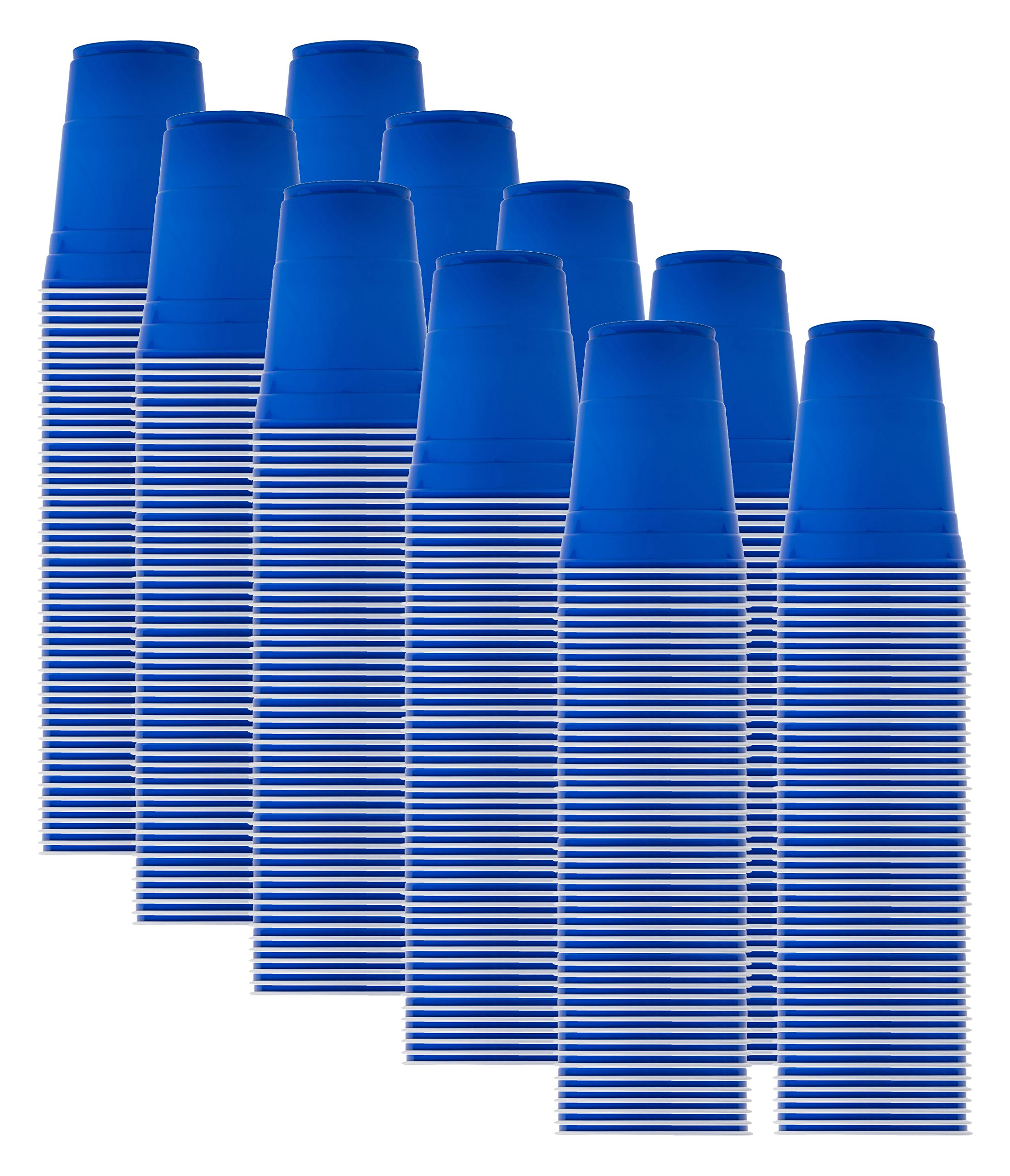 Solo Blue Cup Cold Plastic Party Cups, Round Style, 16 Ounce, 500 Pack
