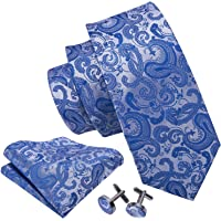 Barry.Wang New Fashion Woven Silk Paisley Tie Set for Men